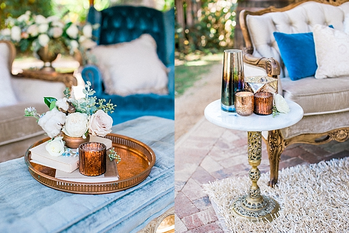 Brass wedding details and decor with florals, books, and candles | Photo by Dennis Roy Coronel | See more on thesocalbride.com