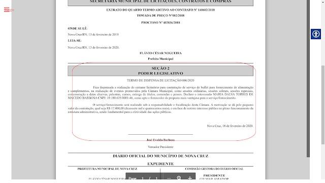 Câmara Municipal de Nova Cruz Contrata R$ 17.400,00 m Buffet para Atender Demanda do Legislativo