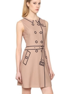 Boutique Moschino beige dress with black trench coat outline