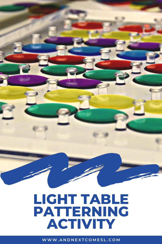 Light table patterning activity for preschool and kindergarten