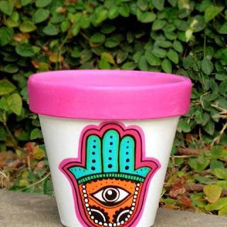 Macetas pintadas - diseño mano hindu