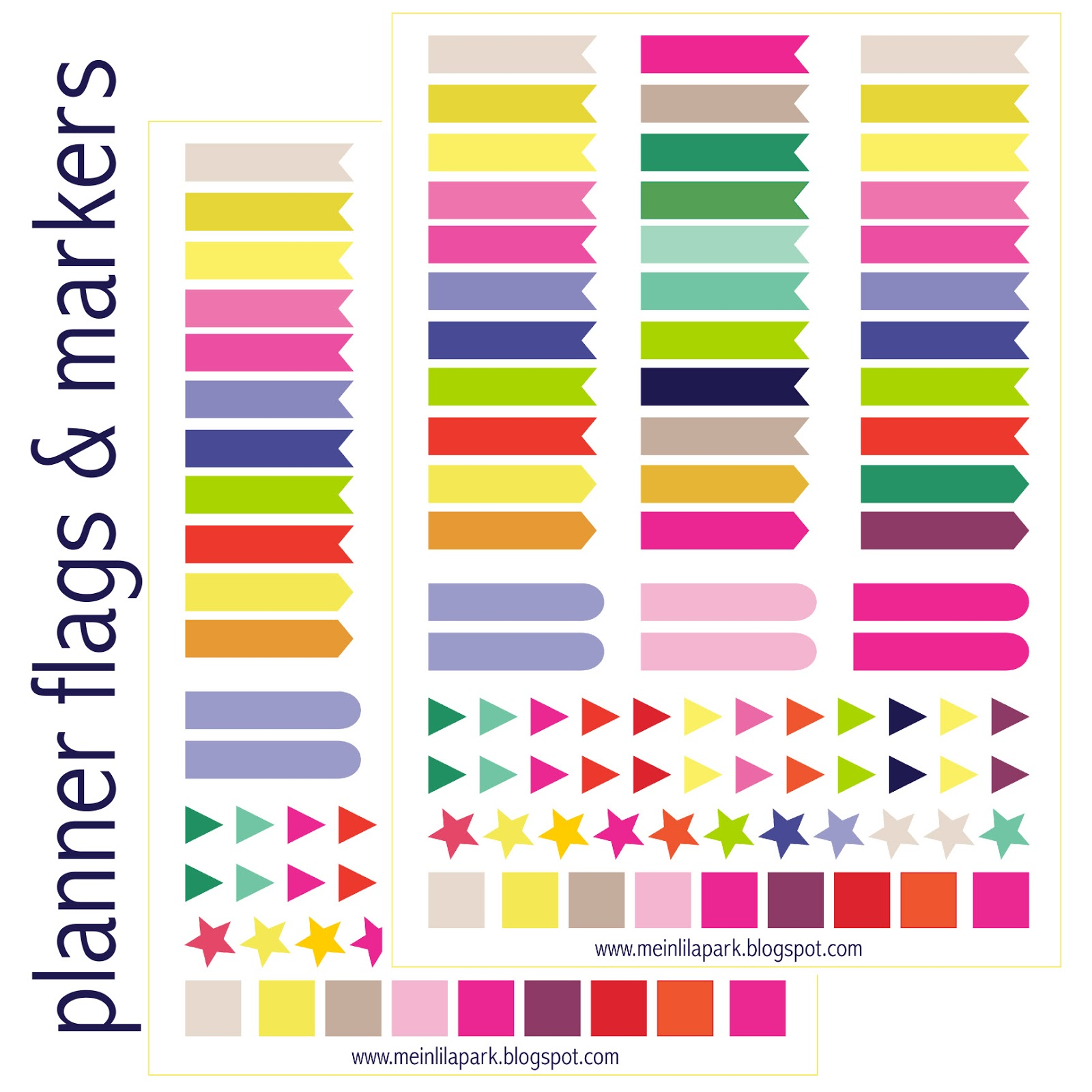 Free printable calendar planner flags and markers ...