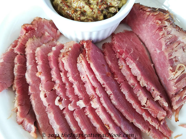 Salt Beef and mustard, Irish Corned Beef, Salt meat, brined meat, preserved meat with curing salt, home cured meat