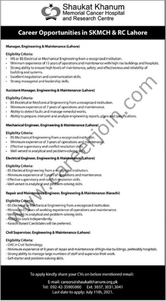careers@shaukatkhanum.org.pk - Shaukat Khanum Memorial Cancer Hospital & Research Centre Jobs 2021 in Pakistan
