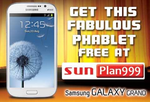 Samsung Galaxy Grand Phablet Get it Free at Sun Plan 999