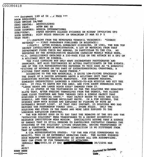 Tài liệu tuyệt mật CIA: 23 lính Nga bị 'hóa đá' sau cuộc đấu súng với người ngoài hành tinh