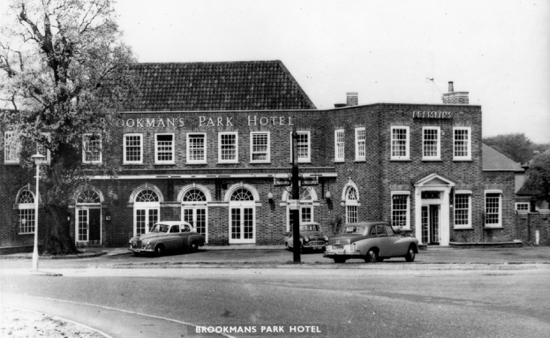 Photograph of a postcard of The Brookmans Park Hotel, Brookmans Park in the 1960s - Image from R. Kingdon