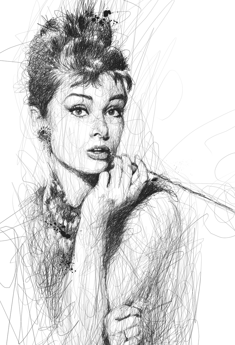15-Audrey-Hepburn-Vince-Low-Scribble-Drawing-Portraits-Super-Heroes-and-More-www-designstack-co