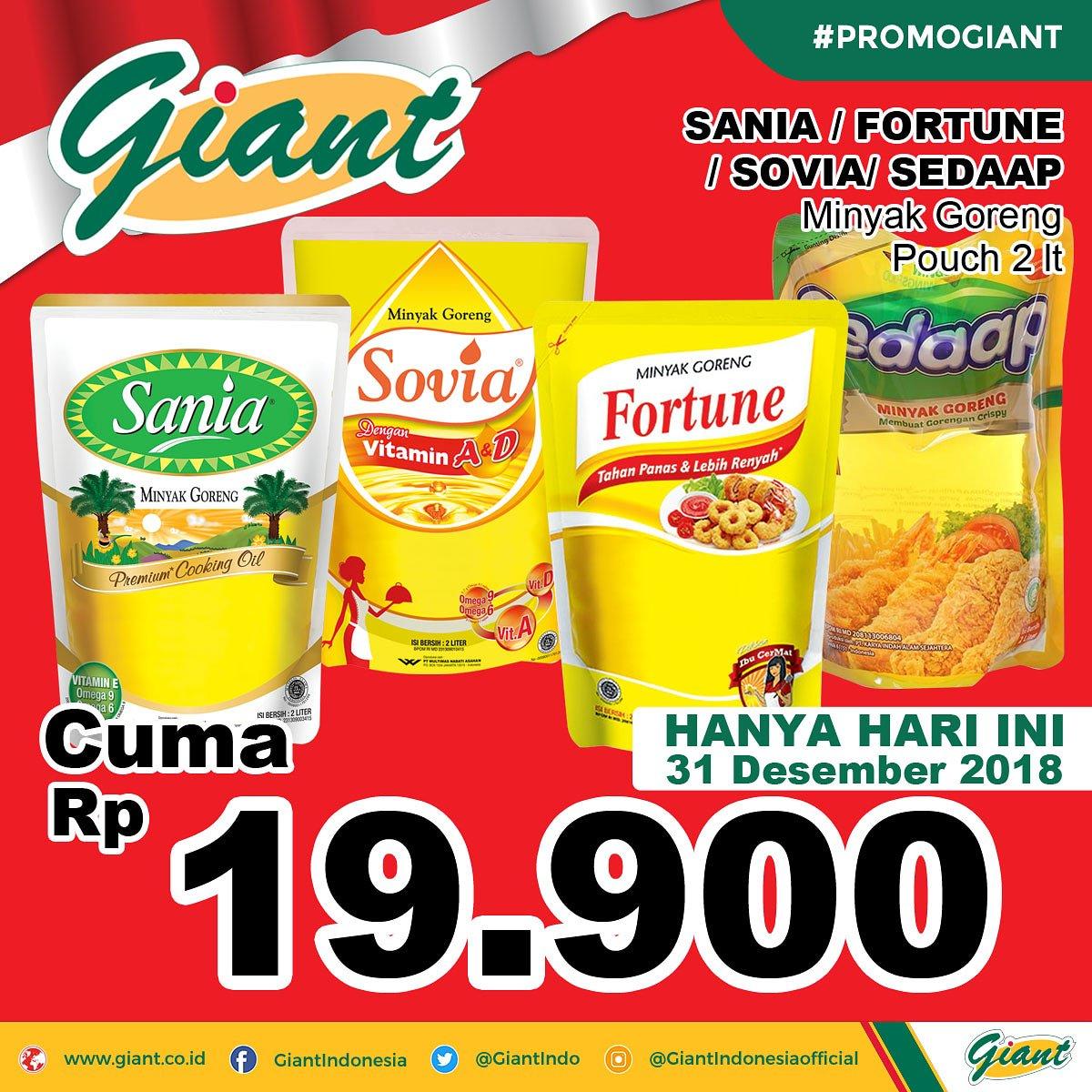 #Giant - Promo Minyak Sania / Fortune / Sovia / Sedaap 2L Cuma 19K (HARI INI)