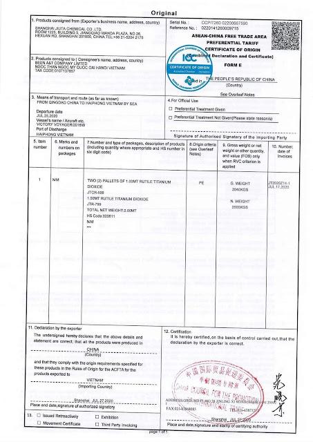 C/O Form E điện tử do CCPIT cấp