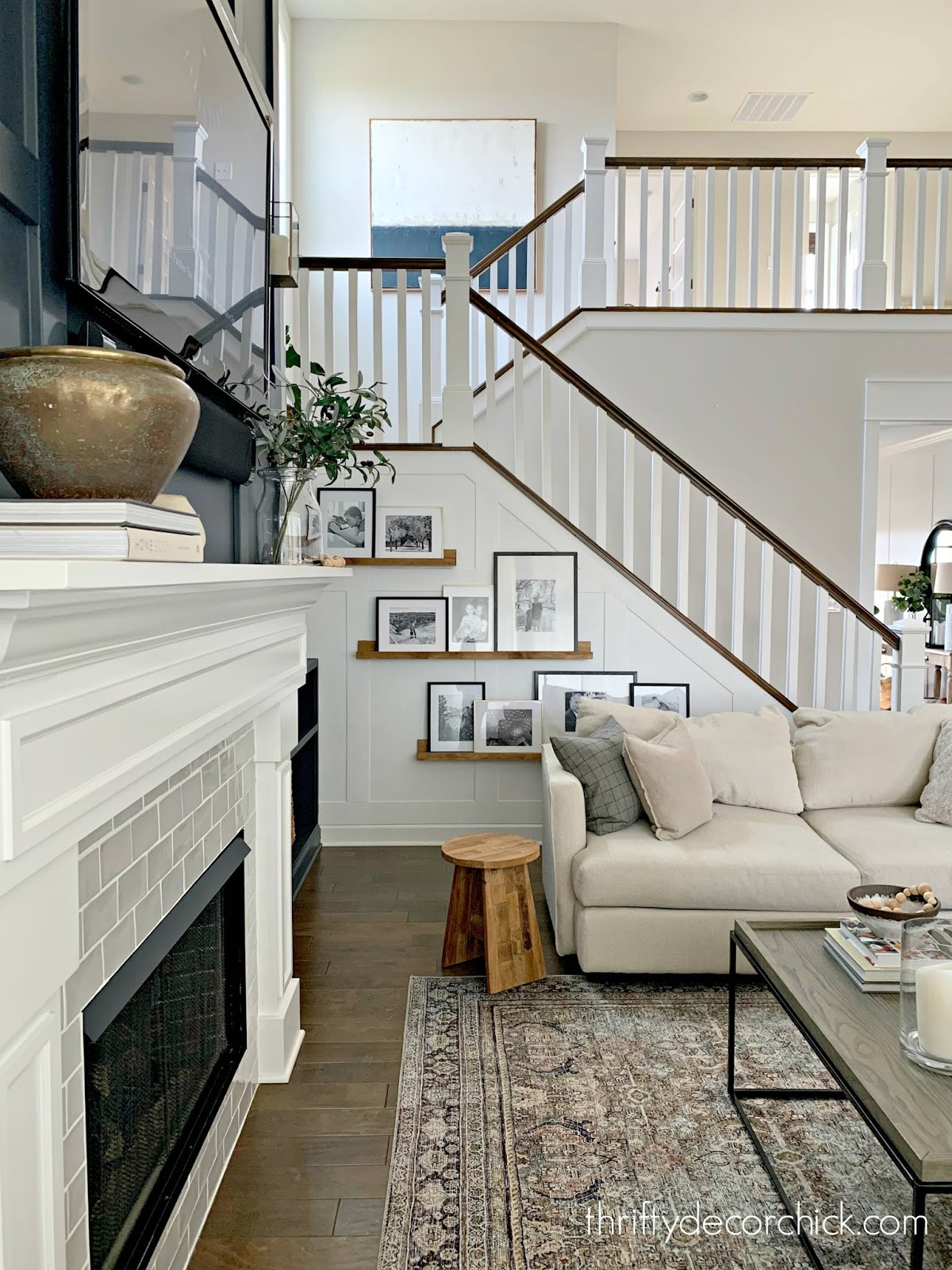Inexpensive DIY trimwork to open stairway walls