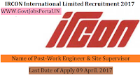 IRCON International Limited Recruitment 2017– Work Engineer & Site Supervisor