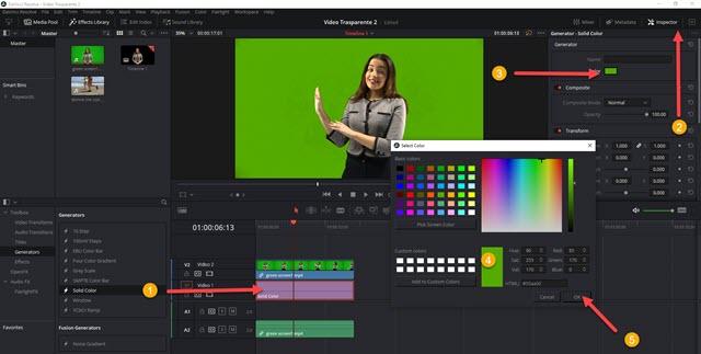 trascinare il colore sotto il video trasparente