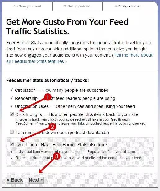 Select your feedburner stats option
