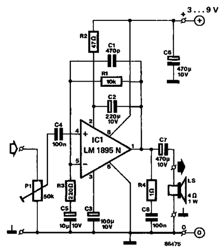 Mini Amplifier With Ic Lm1895n