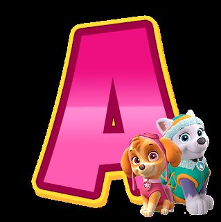 Letra de paw patrol rosa con Skye y Everest para imprimir