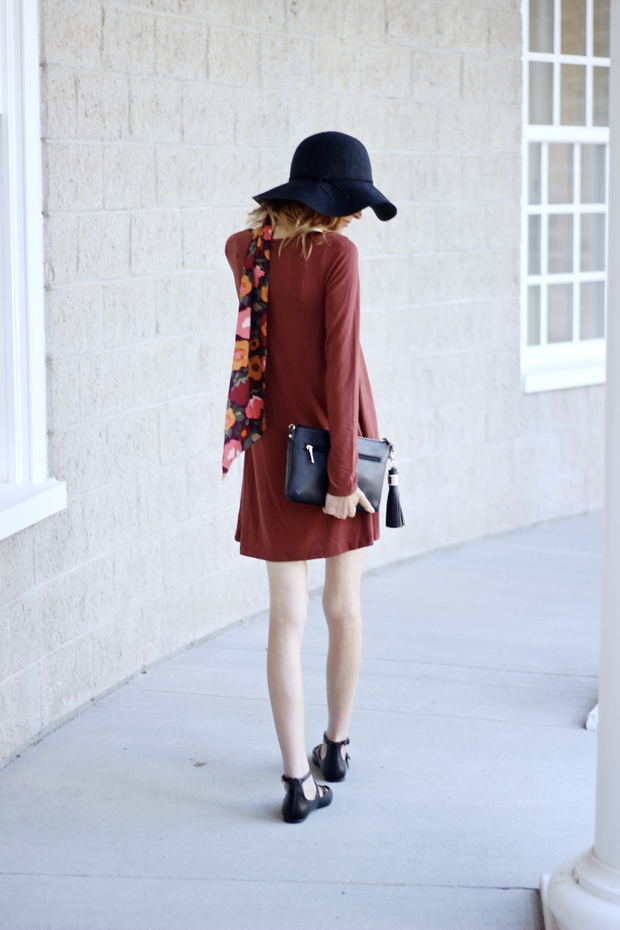 Fall floral neck scarf, shift dress, denim cut offs, Target style,