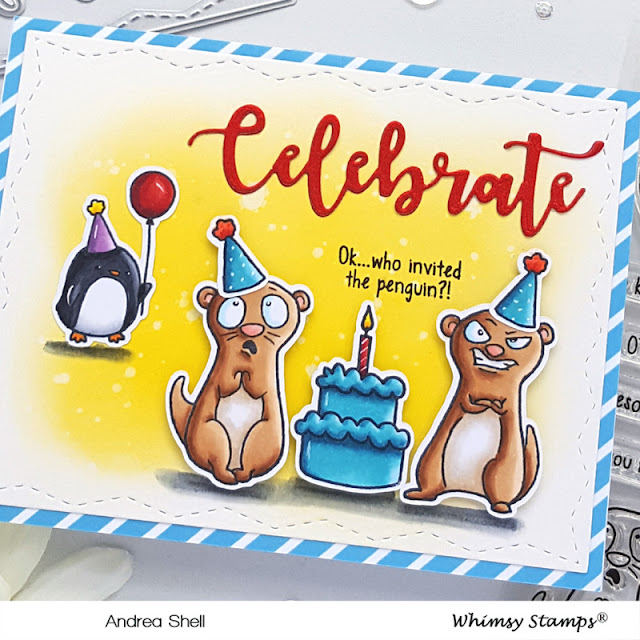 Otter Birthday Party Card by Andrea Shell | Birthday Otters stamp by Whimsy Stamps