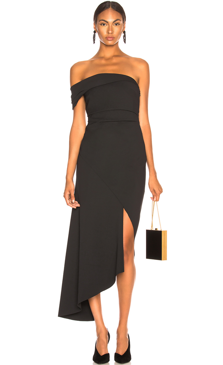 OSCAR DE LA RENTA  Off Shoulder Asymmetric Hem Dress