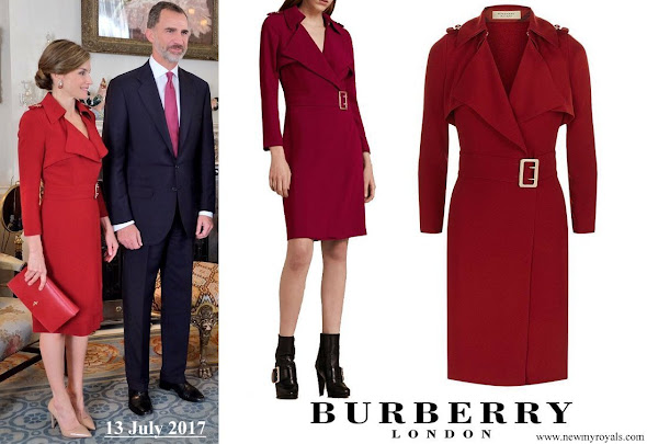 Queen Letizia wore Burberry Buckle Detail Satin Back Crepe Trench Dress