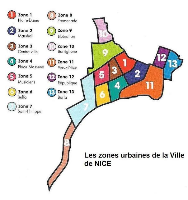 Mapa de Nice - Zonas Urbanas