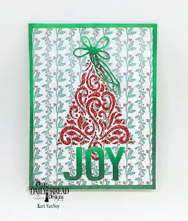 Our Daily Bread Designs Paper Collection:  Christmas 2017, Custom Dies: Peace & Joy,  Ice Skate Die (for the bow), Flourished Tree Inset