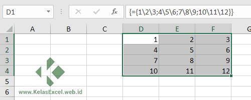 Konstanta Array 2 Dimensi Pada Excel