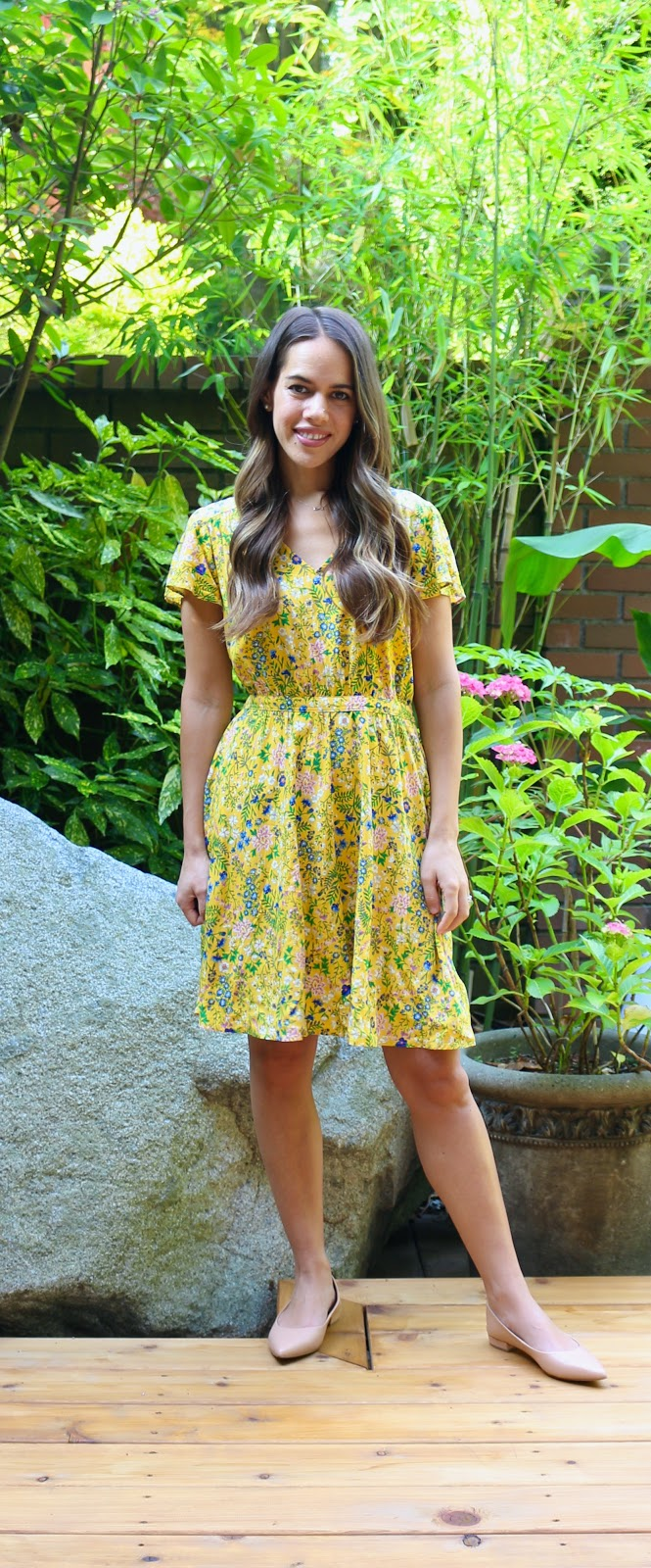 Jules in Flats - Yellow Floral V-Neck Dress (Business Casual Workwear on a Budget)