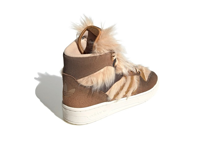 Chewbacca Adidas shoes are made from suede, leather and a faux fur fabric