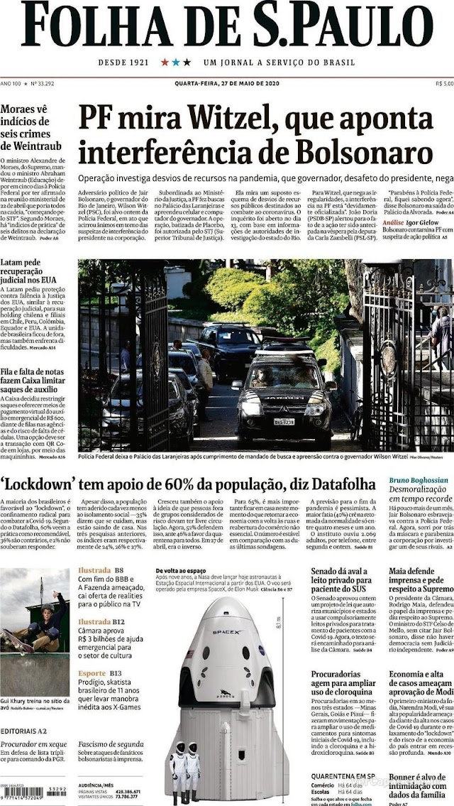 As manchetes dos jornais nesta quarta-feira, 27 de Maio 2020
