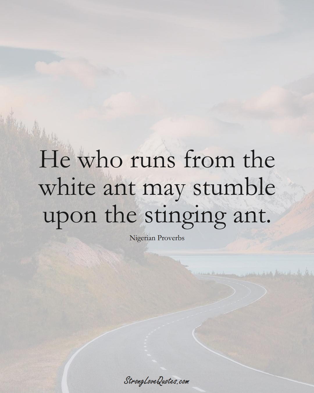 He who runs from the white ant may stumble upon the stinging ant. (Nigerian Sayings);  #AfricanSayings
