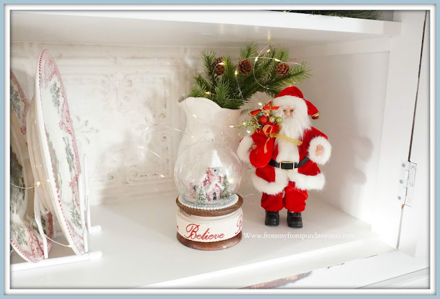 French -Farmhouse -Cottage- White -Dining- Room- Cabinet-Christmas- Vignettes-Santa-Claus-Ironstone-From My Front Porch To Yours