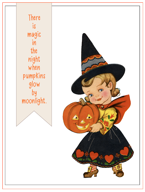 #magic #pumpkins #cute witch #moonlight #halloween quote #journaling card #printable #magic in the air