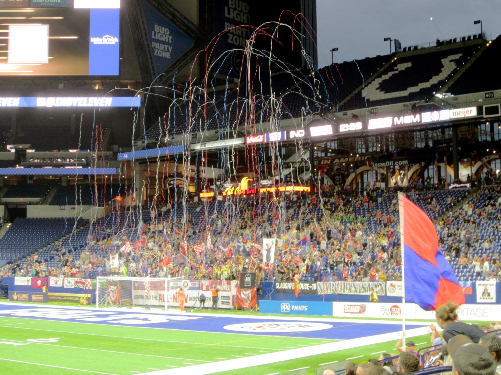 Brickyard Battalion celebrates a goal at Lucas Oil Stadium