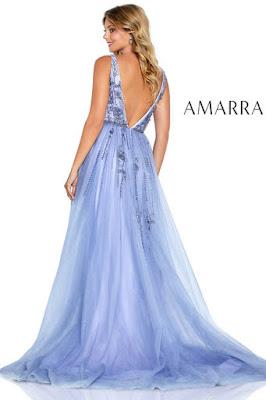 amarra v-plugging prom lavender color dress back side