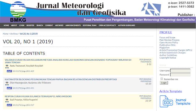 Jurnal Meteorologi dan Geofisika (JMG)