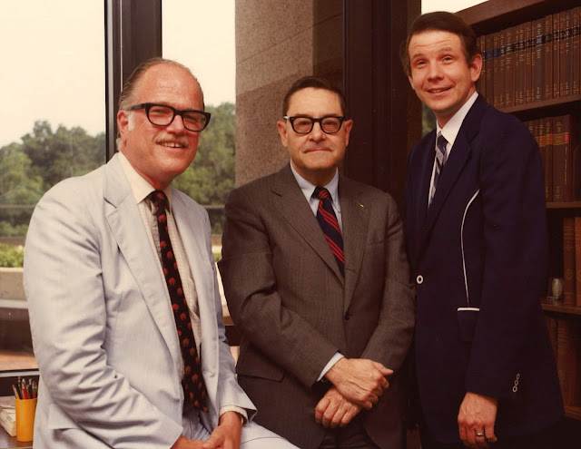 Dr. Robert Joy (center) recruited retired Public Health Service Capt. Peter Olch (left) and Dr. Dale Smith (right) as his first Medical History faculty members.  (Uniformed Services University photo)