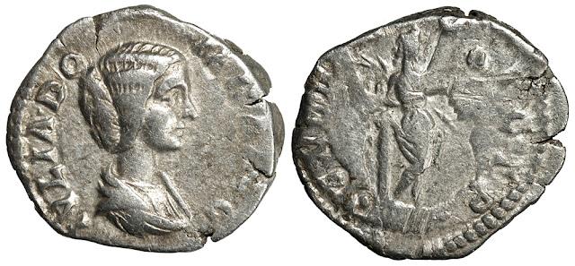 """Silver denarius of Julia Domna, """"Emesa"""" mint, 194 CE."""