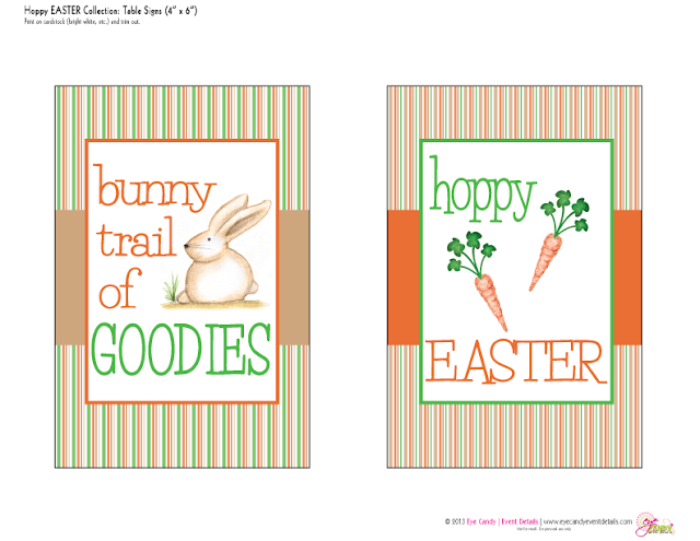 bunny trail of goodies, hoppy easter, easter signs, easter party