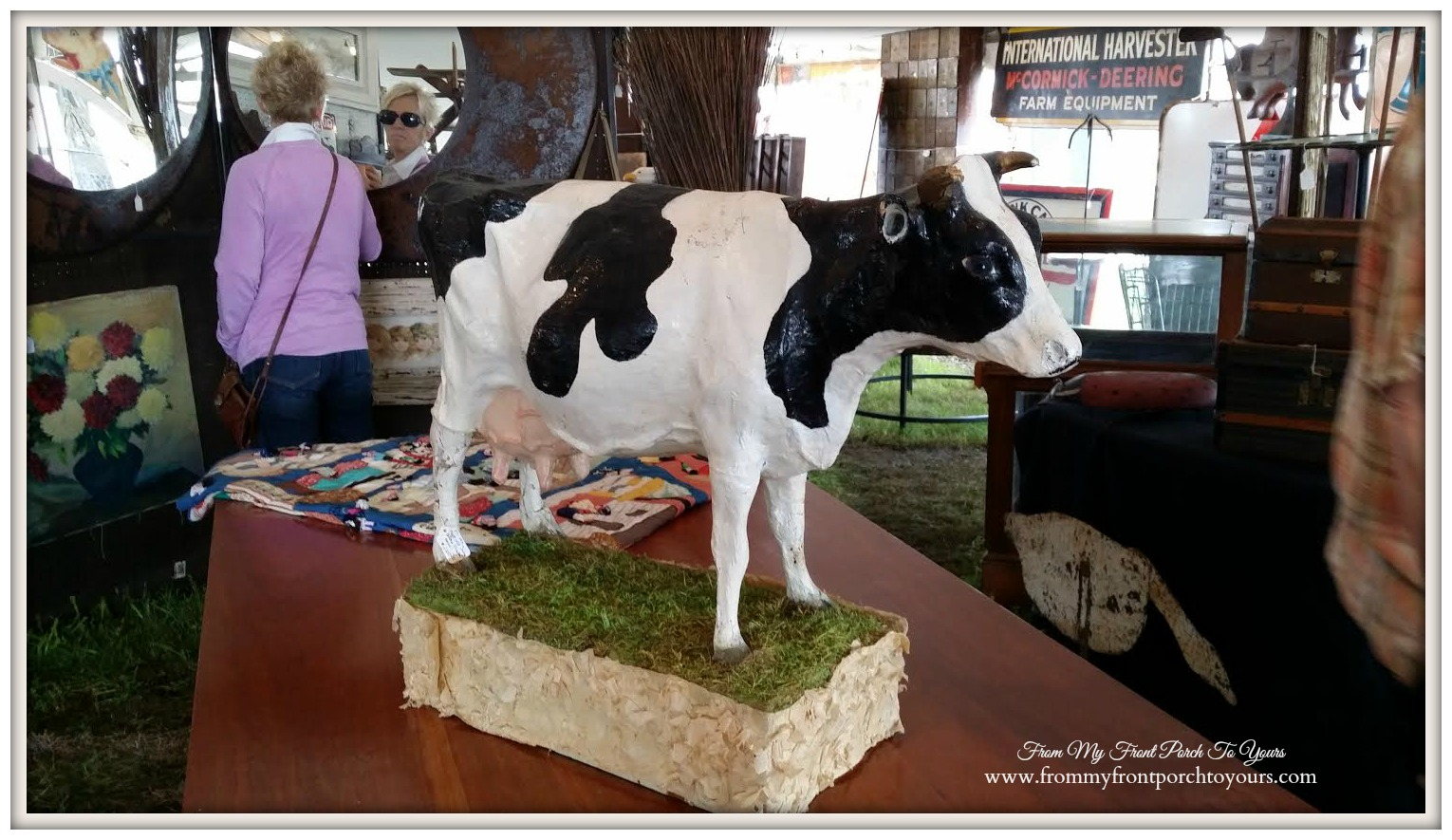 Round Top- Paper Mache Cow-From My Front Porch To Yours