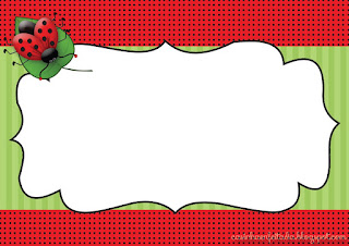 Ladybugs Free Printable Invitations, Labels or Cards.