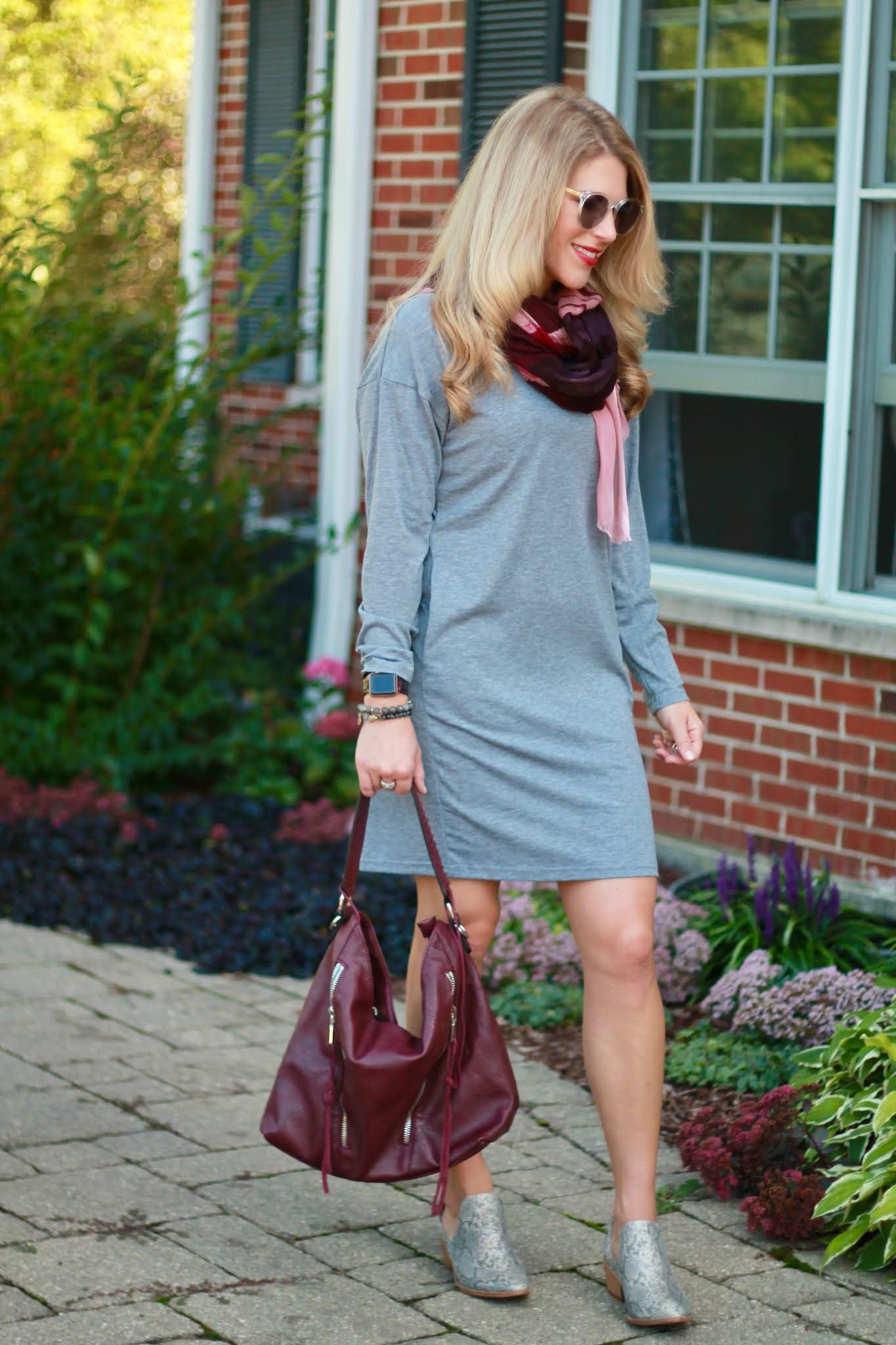 grey dress for fall, grey shirt dress, purple scarf, burgundy bag, snakeskin boots