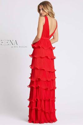 Tiered skirts evening dress V-neck A-line Ieena for duggal red color Back side