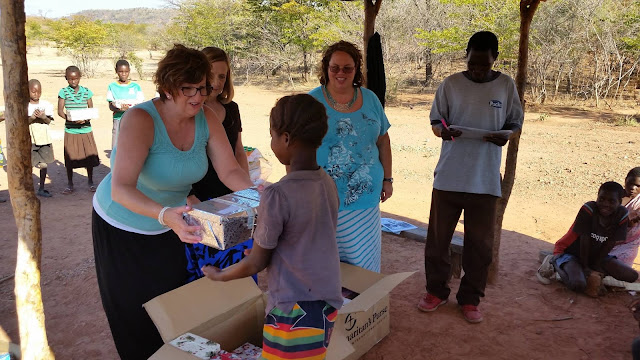 Delivering shoeboxes in Zambia for Operation Christmas Child.