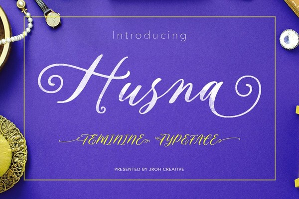 Husna Script Feminine Typeface Font