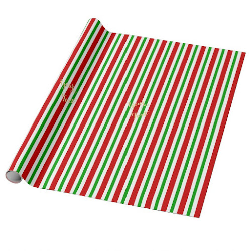 Retro Red Green White Stripes Custom Gold Text Christmas Wrapping Paper