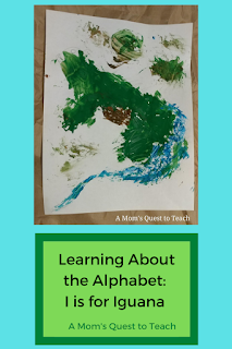 Text: Learning About the Alphabet: I is for Iguana; A Mom's Quest to Teach; child's painting of an iguana