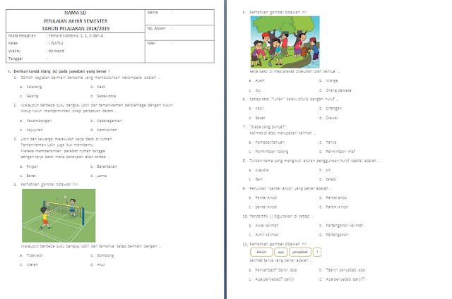 Soal PAS Kelas 2 SD/MI: Tema 8