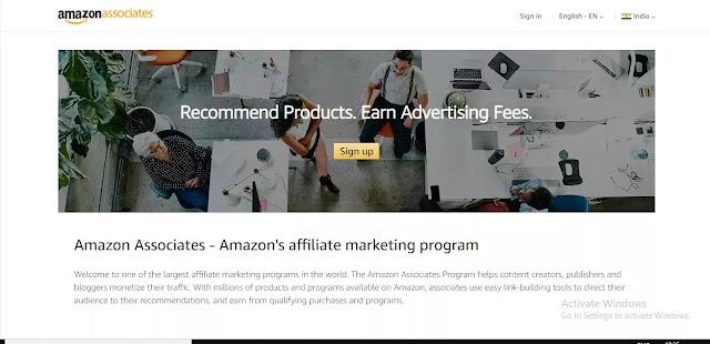 Amazon associate sign up make money