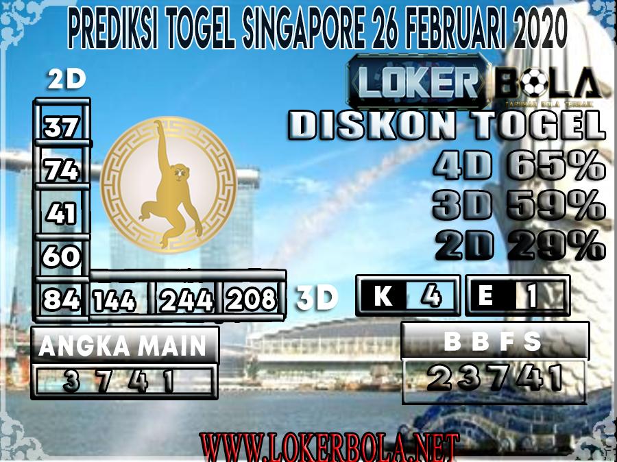 PREDIKSI TOGEL SINGAPORE LOKERBOLA 26 FEBRUARI 2020